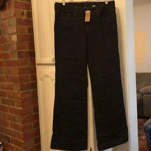 J Crew Dark Wash 5 Pocket Wide Leg Trouser Jeans